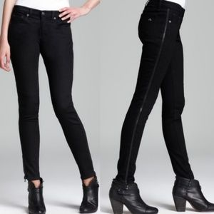 Rag & Bone Black Zipper Tuxedo Jeans in Coal